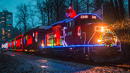 Train decorated with holiday lights