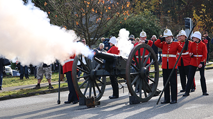 Cannon firing at Remembrance Day ceremony