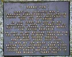 Stone marker for Terry Fox