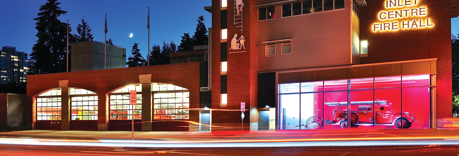 Inlet Centre Fire Hall at night
