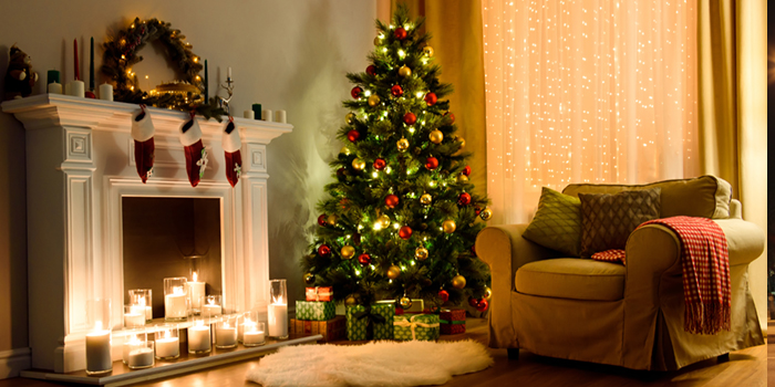 Fire Place and Christmas Tree with decorations