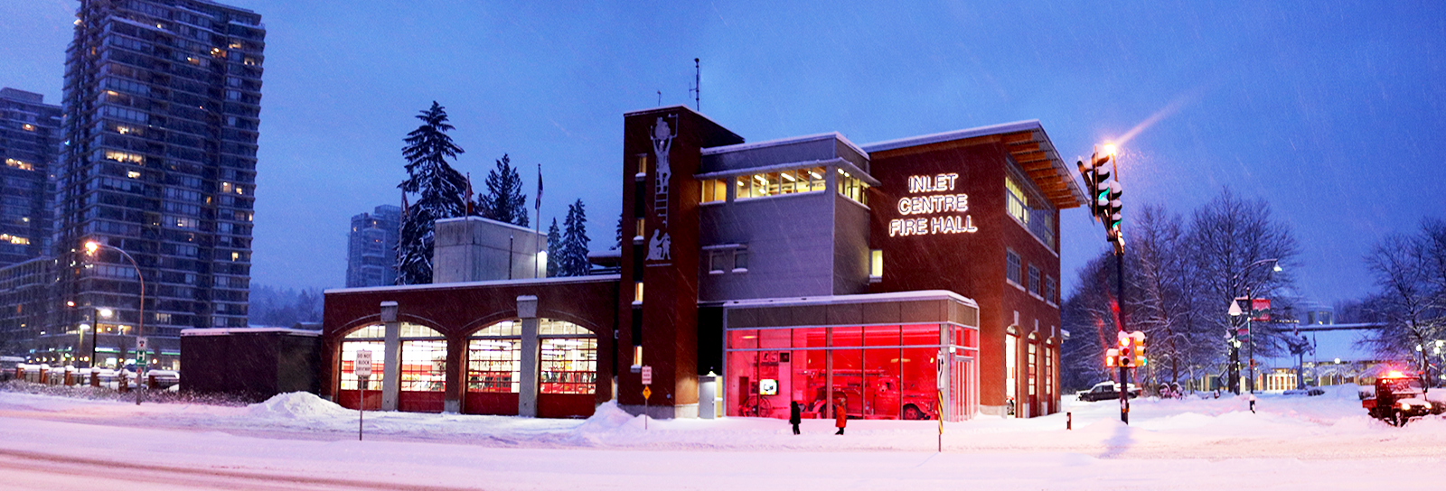Fire Hall Picture in the snow