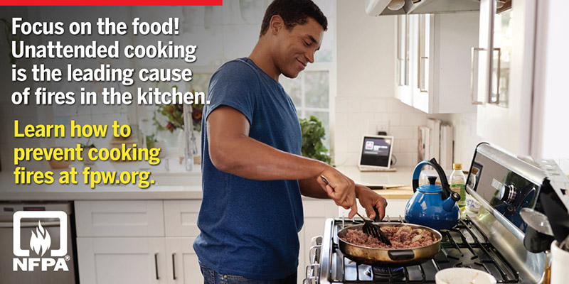 Take simple actions to prevent fires and keep yourself and others safe when cooking at home
