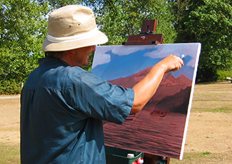 Artist painting in the park