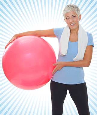 Woman holding a bosu ball