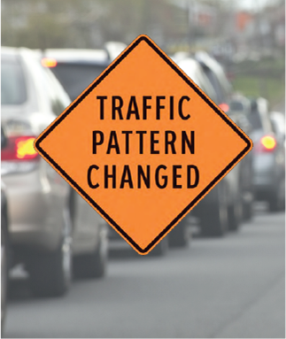 Traffic Pattern Changed road sign