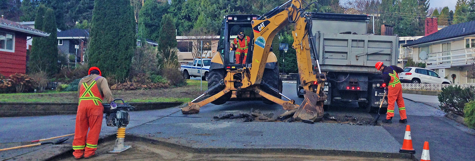 city crews working on road